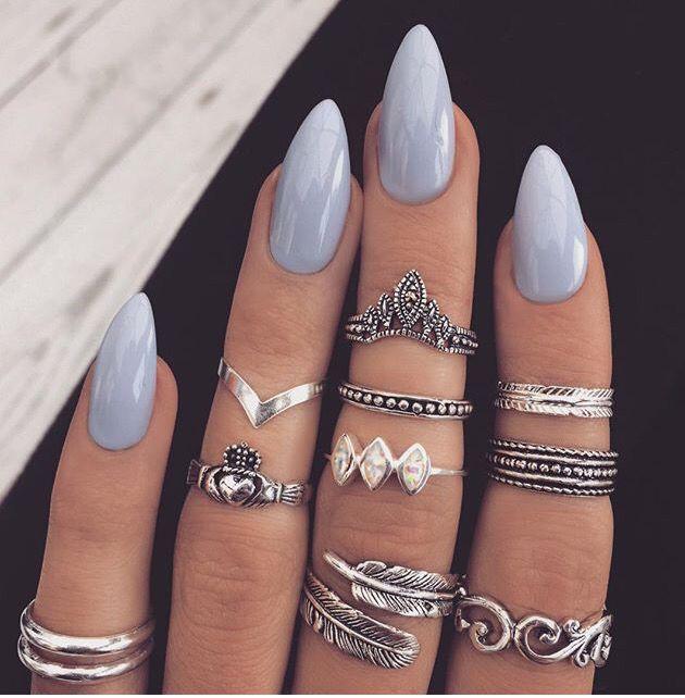 Baby blue almond shape nails | Almond acrylic nails, Almond nails .