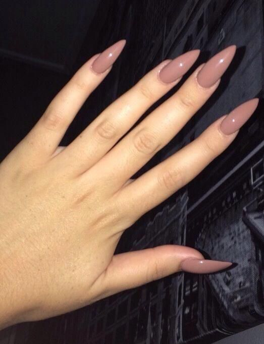 Lovely brown almond shaped nails #nailsacrylic | Glue on nails .