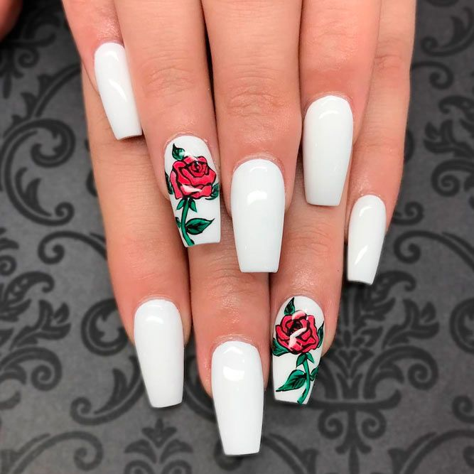 Beautiful Flower Nail Designs  With Roses