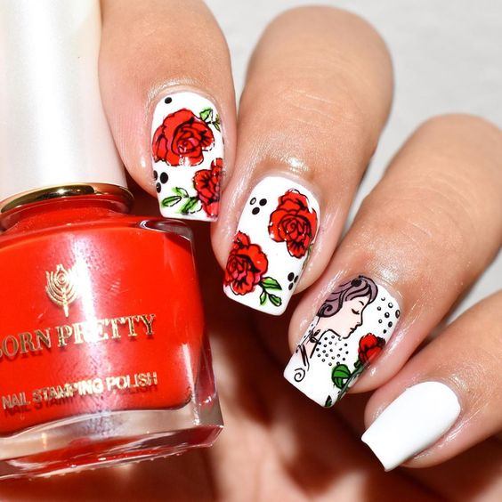 50 Insanely Beautiful Flower Nail Designs with Roses You Do Not .