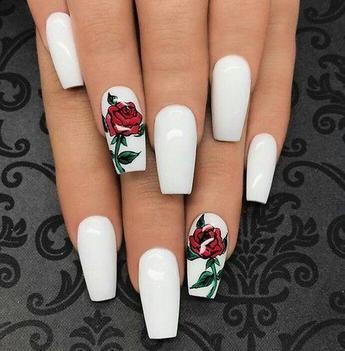 yasminnsofiaa | 💅 | Rose nails, White acrylic nails, Coffin shape .