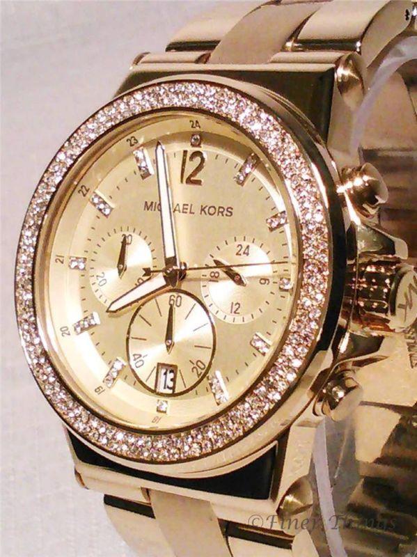 Michael Kors MK5386 Chrono Swarovski Crystal Glitz Gold Tone .