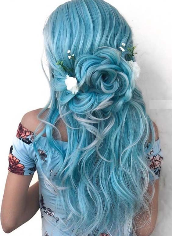 42 Elegant Blue Bridal & Wedding Hairstyles for 2018 | Cool hair .