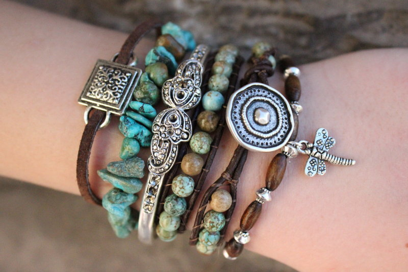As Seen In Vogue Magazine - Turquoise Boho Bracelet Stack .