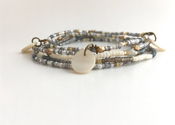 Boho Grey Stacking Bracelets/Seed Bead Bracelet Stacks/Stack | Et