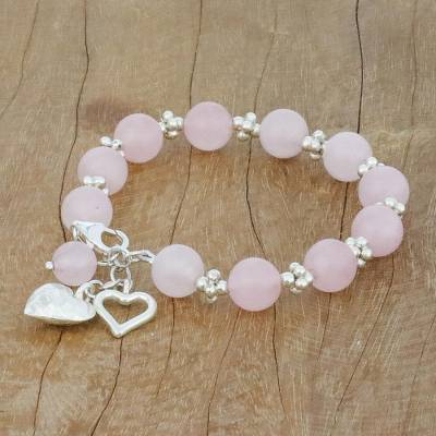 UNICEF Market | Rose Quartz Beaded Bracelet with Heart Charms from .