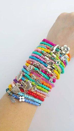 Friendship bracelet, layered bracelets, stretch bracelets with .