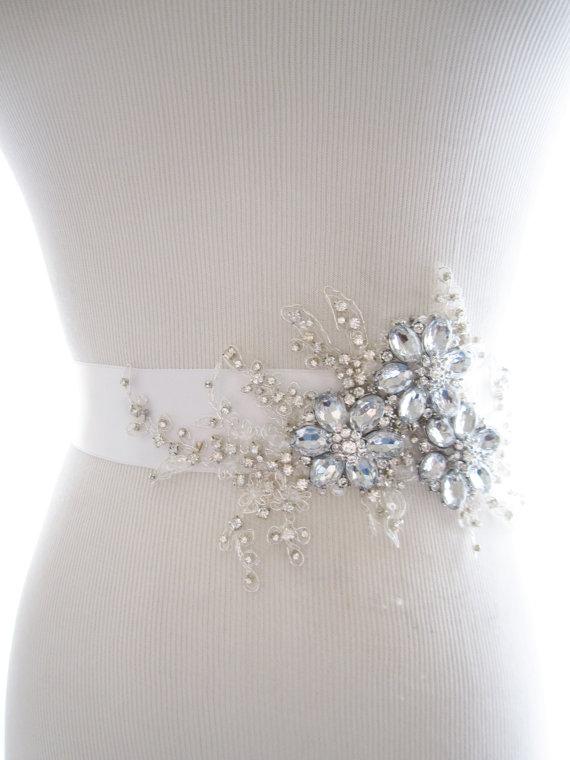 Rhinestone Bridal Sash Amazing Rhinestone Beaded Lace Applique .