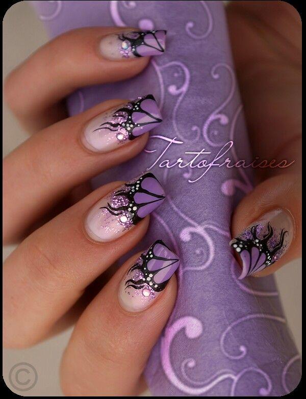 Purple butterfly nail art | Purple nail art, Butterfly nail art .