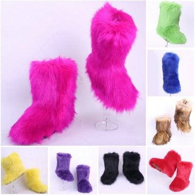 Women's Faux Fox Fur Boots Chic Black Mid Calf Winter Boots in .
