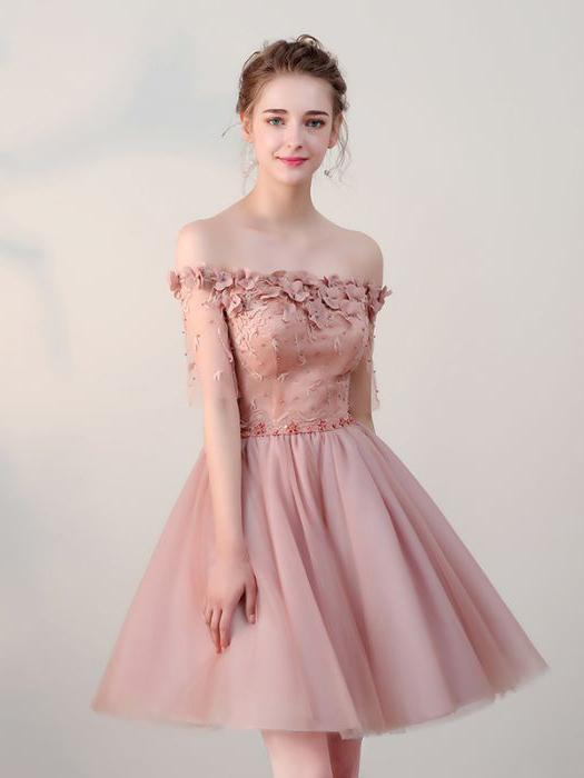 Chic Homecoming Dresses Short Pearl Pink Off-the-shoulder Tulle .