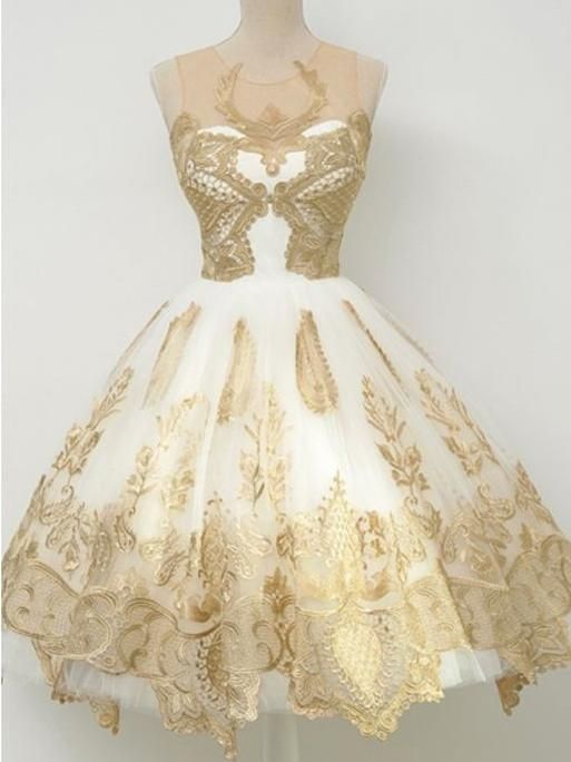 Chic Homecoming Dress Ivory Appliques Tulle Short Prom Dress Party .