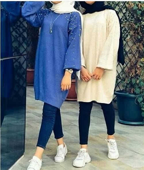 Oversized sweater dress hijab style | Hijabi outfits casual, Hijab .