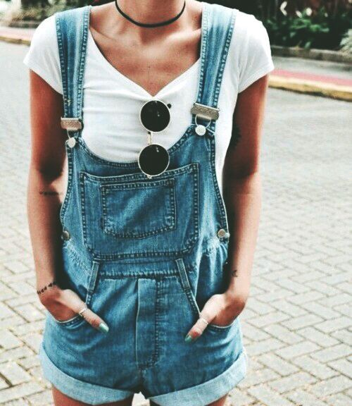 A pair of shortalls with your favorite shirt. Add sunglasses and .