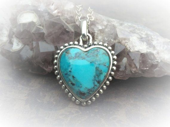 Heart Turquoise Necklace-Signed Barse Heart-Boho Chic Jewelry .