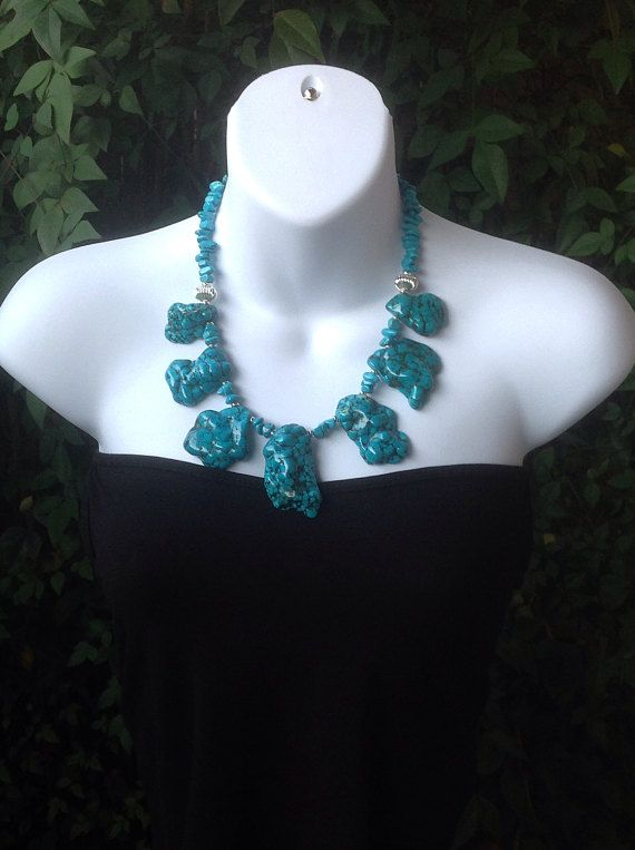 Turquoise Slab Necklace. Chunky Turquoise Necklace. Large .