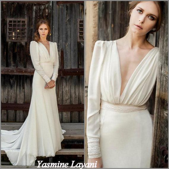 Long Sleeve Wedding Dress Chiffon Wedding Dress Boho Chic Wedding .