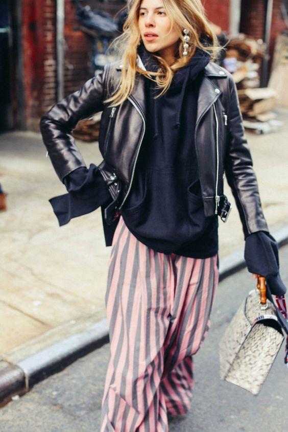 Moto Jacket Outfits Moto Jacket Outfit Ideas Maja Wyh Black Hoodie .