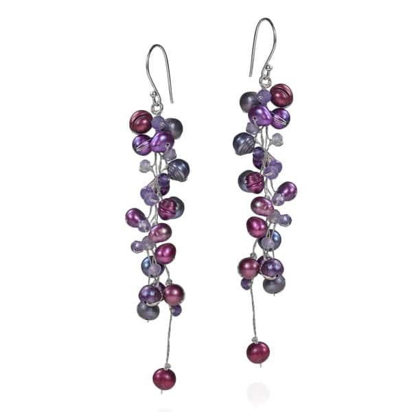 Shop Handmade Elegantly Classy Purple Pearls Amethyst Long Dangle .