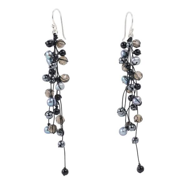 Shop Handmade Elegantly Classy Black Pearls Quartz Long Dangle .