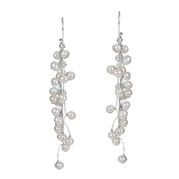 Shop Handmade Elegantly Classy White Pearls Long Dangle Earrings .