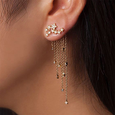 Women's Constellation Earrings with Dangle Chains - Go