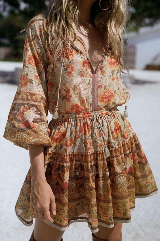 Boho Floral Print Mini Dress in 2020 | Boho outfits, Fashion, Boho .