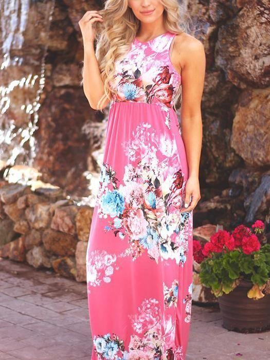 Sleeveless Summer Floral Print Dress | Dresses, Fashion, Print dre