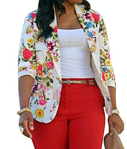 SYTX-women clothes SYTX Womens Casual Floral Print Suit Blazer .