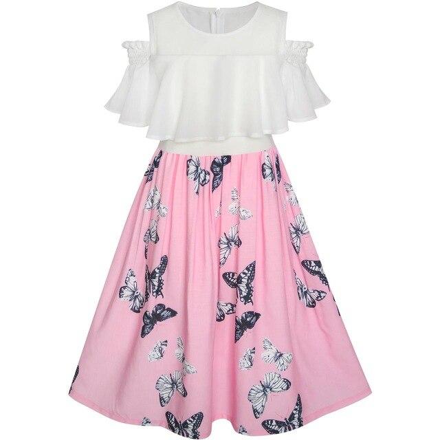 Girls Dress Chiffon Butterfly Ruffle Cold shoulder White Pink 2020 .