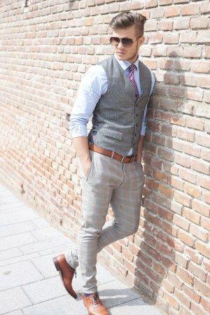 man-dressed-in-gray-vest.jpg (300×450) | Summer party attire, Mens .