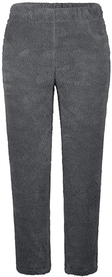 Women's Fleece Fuzzy Pants Winter Warm Cozy Plush Lounge Sleepwear .