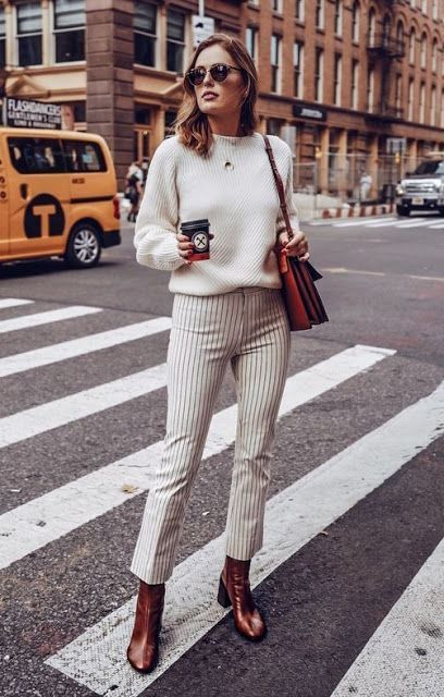 Autumn outfit - white cozy sweater + striped pants and leather .