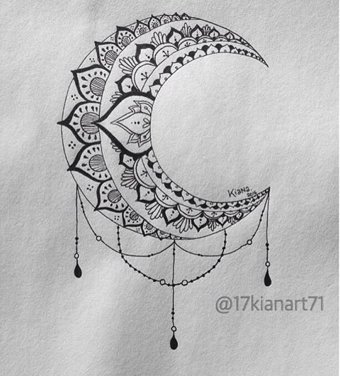B&W Moon Mandala Design #art #creative #drawing #mandala #moon .