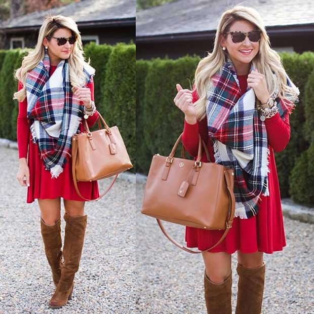 59 Cute Christmas Outfit Ideas | StayGlam | Red dress christmas .