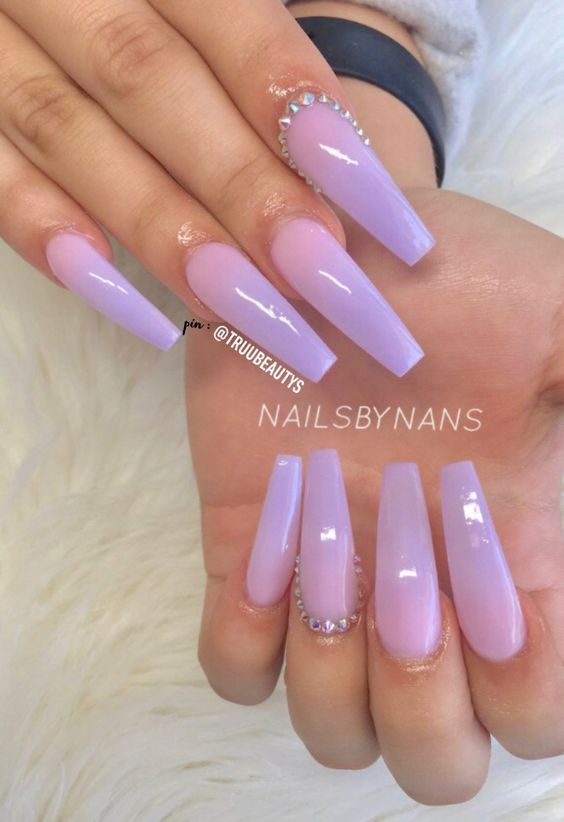 60 Cute Coffin Nails Colors Designs - NailiDeasTrends | Purple .
