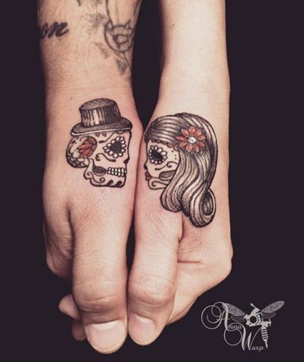 45 Cute Couple Tattoo Designs - Buzz 2018 | Skull couple tattoo .