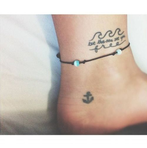 cutelittletattoos | Beach inspired tattoos, Ankle tattoo, Waves tatt