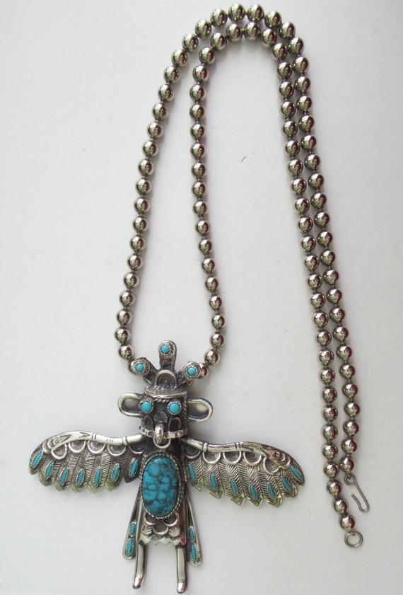 Dazzling Large Kachina Doll Navajo Faux Turquoise Thunderbird .