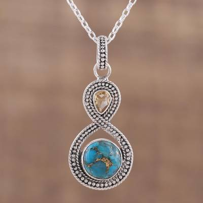 UNICEF Market | Indian Citrine and Composite Turquoise Pendant .