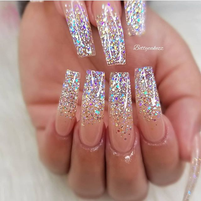 49 Best Glitter Nail Art Ideas For Glam Looks | Sparkly acrylic .