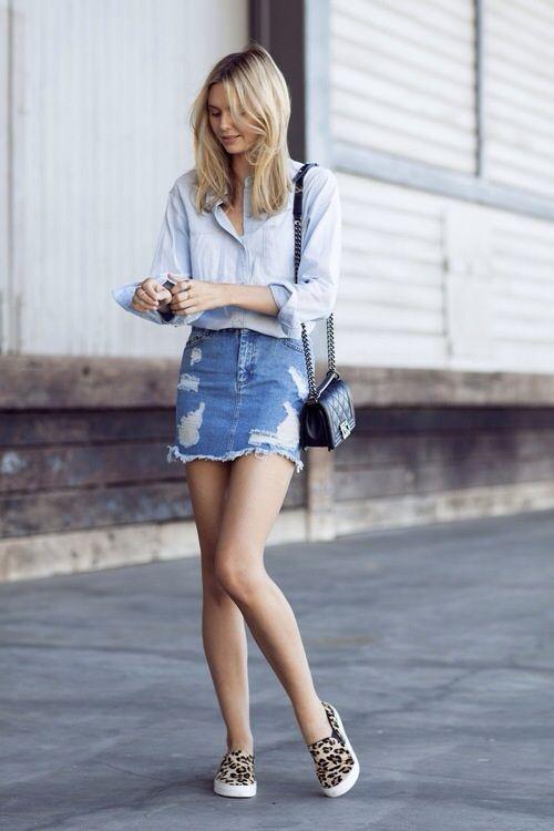 Weekend wear} | Denim button up shirt, distressed denim skirt .