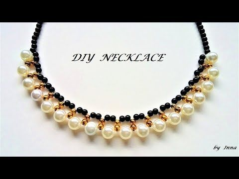 How to make a beaded necklace in less than 10 min. Tutorial for .