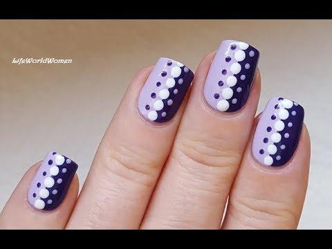 DOTTING TOOL NAIL ART #11 - Easy Purple Dot Nails Idea - YouTu