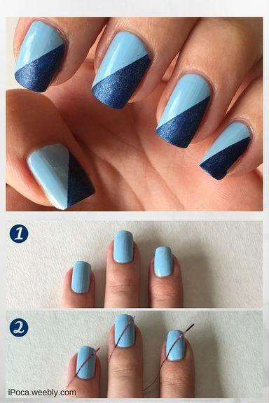 Clear blue skies | Nail art for beginners, Blue nail art, Blue .