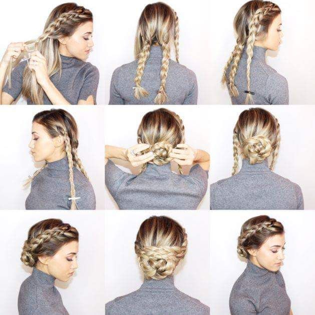 55 Easy Updos to Look Effortlessly Chic | Braided bun hairstyles .