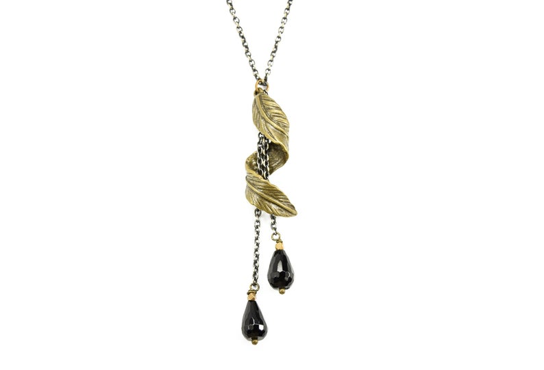 Onyx Feather Adventure EDGY PETAL Necklace Black Onyx Antique .
