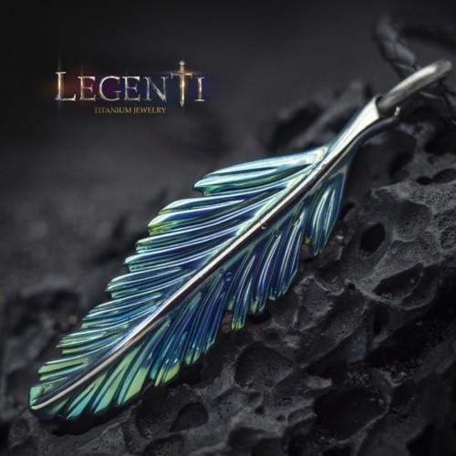 Feather Titanium Pendant Fire Amulet Necklace Tribal Edgy Fan .