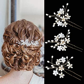 Amazon.com : Sppry Wedding Hair Pins (3 Pcs) - Elegant Pearl .