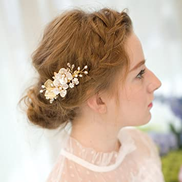 Amazon.com : AW BRIDAL Freshwater Pearl Wedding Hair Clip Pin .
